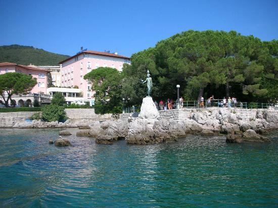 Opatija, Croacia: view of statue from little boat