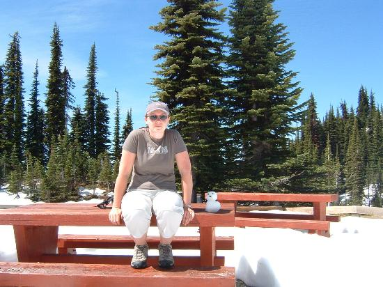 Mount Revelstoke National Park: See how deep the snow is? and my mini snowman!