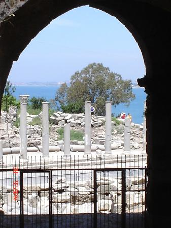 Greek Amphitheater: View over to right showing library