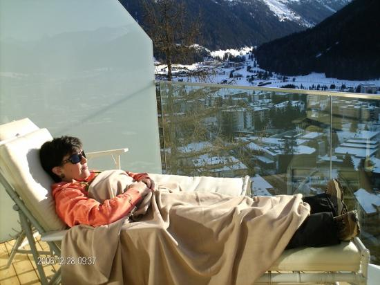 Waldhotel Davos: me in the room balcony relaxing...