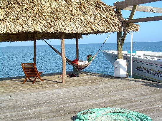 Hamanasi Adventure and Dive Resort: My wife relaxing on the dock