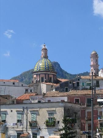 From downtown Vietri Sul Mare a side view of the ceramic cupola of Chiesa San Giovanni Battista