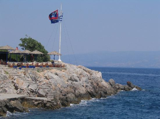 Hydra, Hellas: Cafe on the coast