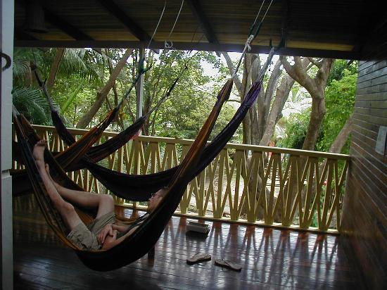 Hotel Aurora: Upstairs deck with hammocks