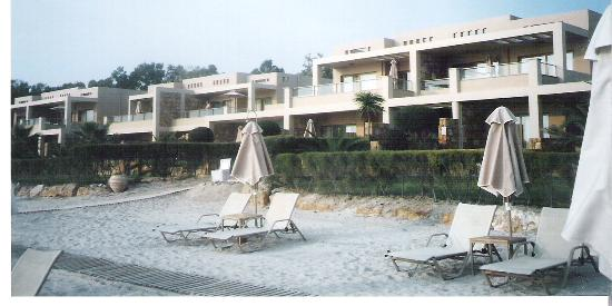 Sani Asterias Suites: view of asterias from its fantastic private beach.