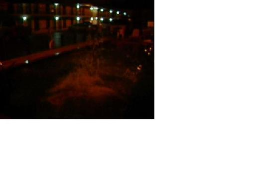 Econo Lodge Alachua: dark and dingy pool and back of hotel