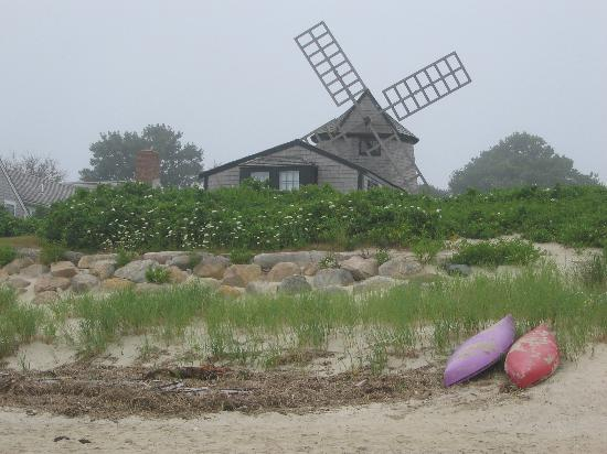 Windmill in the mist from the beach on Pleasant Bay, Chatham