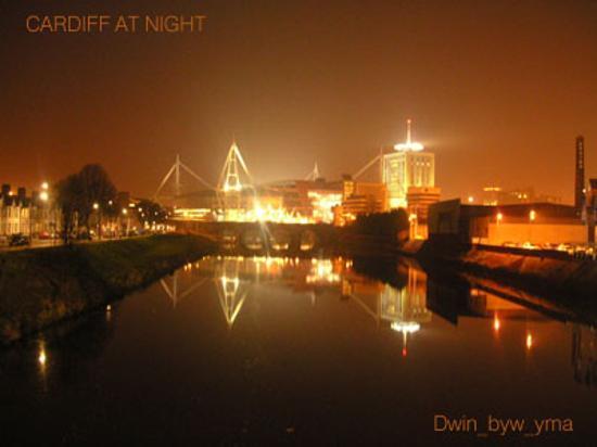 Cardiff, UK: Millennium Stadium at Night