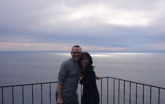 Post Ranch Inn : Tom & Kazuko and view from the Sierra Mar restaurant, Dec. 2006