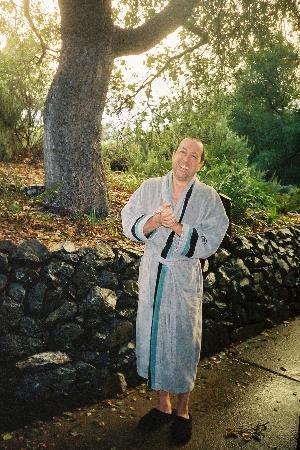 Phil wearing Post Ranch Inn robe, Dec. 2006
