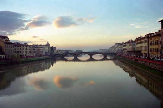 Florence, Italy: Winter Sunset Alomg the Arno
