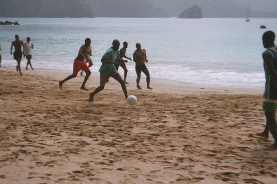 Charlotteville : Soccer Game on Pirate's Bay