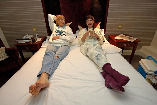 The Yorkshire Hotel: Cathy and Marjorie on the Double Bed