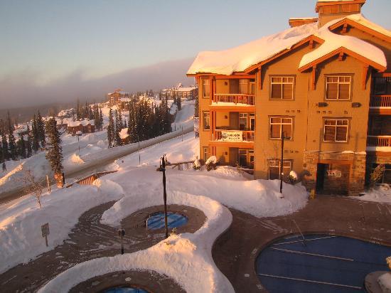 Sundance Resort at Big White Ski Resort: view at sunrise, looking toward bldg #2 and the village