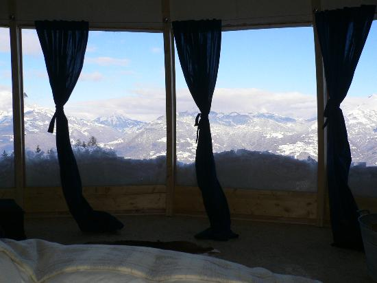 Whitepod Eco-Luxury Hotel : view from the bed in a pavillion pod