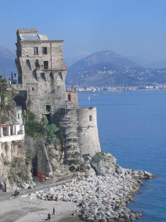 Cetara's 16th century La Torretta watch tower and small beach area