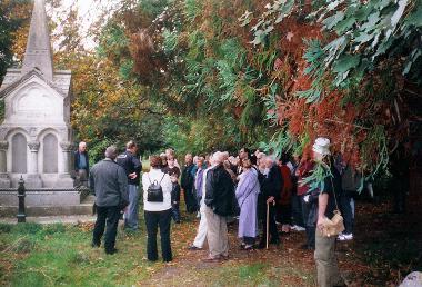 A tour stops at the Rhone memorial