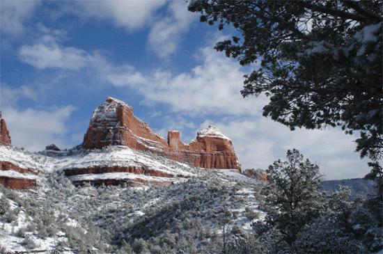 Sedona, AZ: The Fin with snow