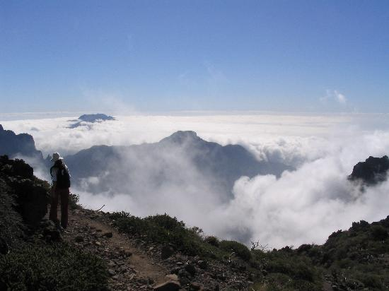 A view over cloud enshrouded La Palma