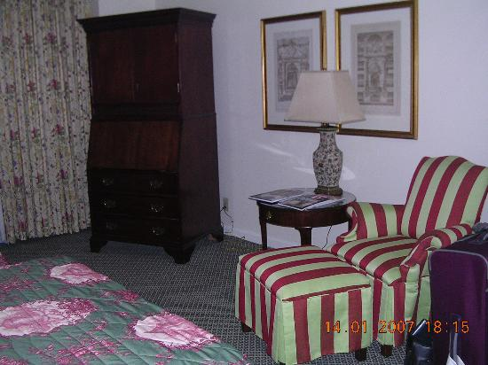 The Adolphus: sitting area, TV armoir