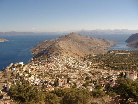 Symi, Greece: View from Mt Vigla