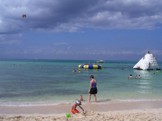 Cozumel, Mexico: Behind me in this picture you can see the water trampoline and the climbing structure, as...