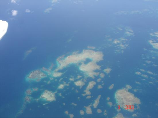 Lizard Island Resort: view from flight to lizard