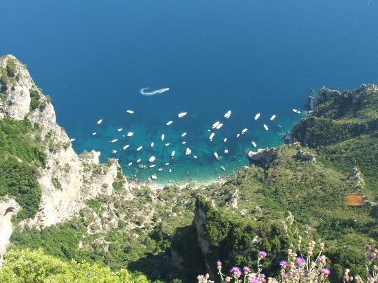 Anacapri, Italy: Those white dots are the big boats that bring in tourists :)