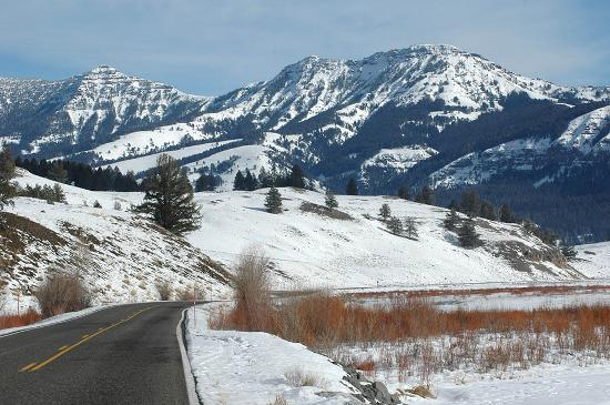 Gardiner, MT: Lamar Valley scenery along the only Park road plowed in winter