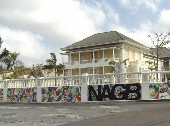 The National Art Gallery of The Bahamas: NAGB from the side. The artwork on this wall changes from year to year.