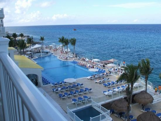 Cozumel Palace: View to the south from our balcony of pool area