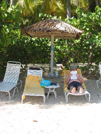 Peter Island Resort and Spa : Beach cabana Number 11 - ours all week! Tell Stephen the beach waiter we said hi!