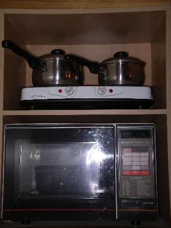Aspiring Lodge Motel: Ancient microwave and 2-ring cooker squeezed into a cupboard. Dangerous!