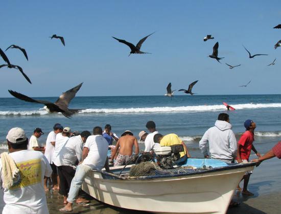 fishing boats return to Sayulita beach