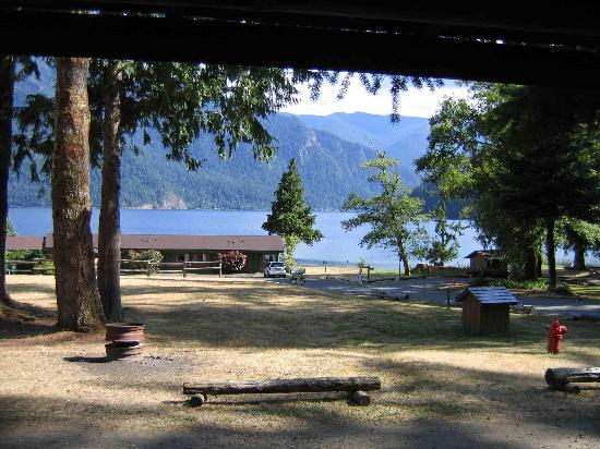 View of lake crescent from the cabin picture of log for Log cabin resort lago crescent wa