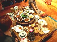 "Food presented on a ""Khantoke"""