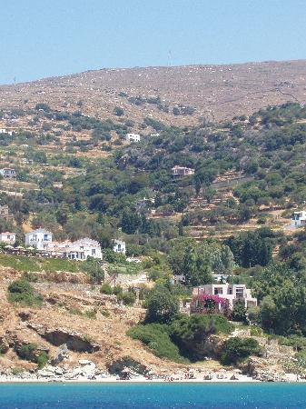 Andros, Greece: View of Blue Bay Hotel & Villa Elies (top centre)