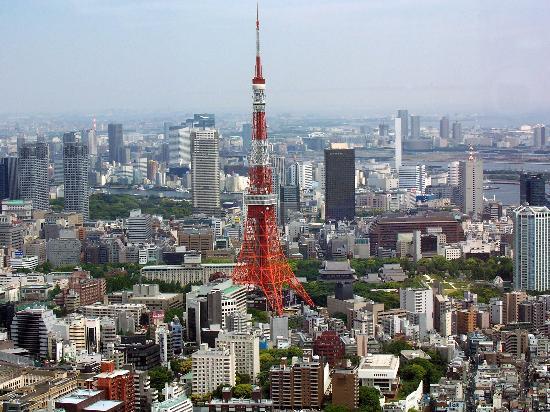 Minato, Japan: Tokyo tower from Roppongi Hills