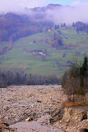 The river that washed away a village years ago. Near Lucerne.