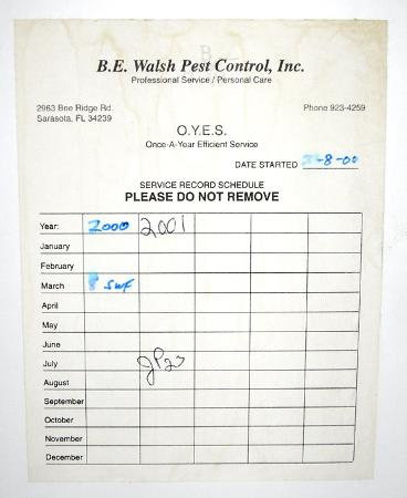 Siesta Key Bungalows: pest control certificate
