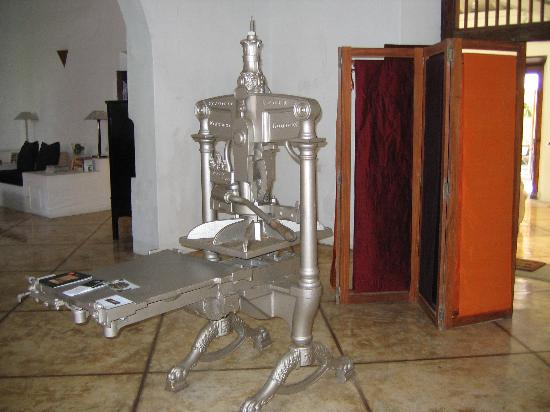 The old printing press that sits in the front foyer