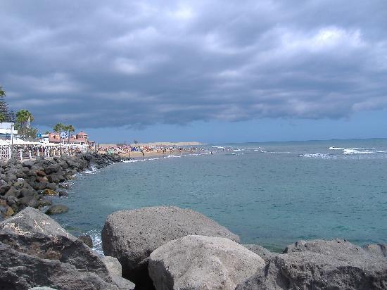 playa de Maspalomas desde debajo del faro