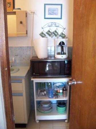 Coconut Palms Inn : Coqui microwave, dishes, etc. (located in bathroom)