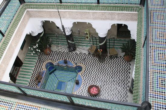 Riad El Mansour: Looking down to ground floor