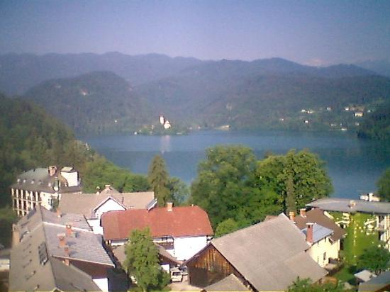 Golf Hotel Bled: a cameraphone view of the lake from the hotel