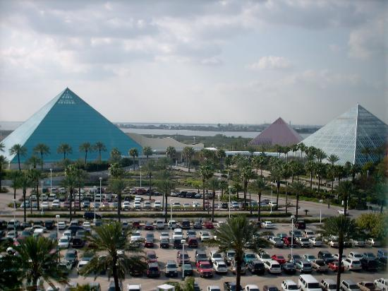 Pyramids at moody gardens as seen from the paddlewheeler for Moody gardens hotel