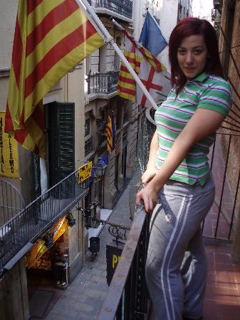 Pension Dali- : my girlfriend and view of small spanish street below