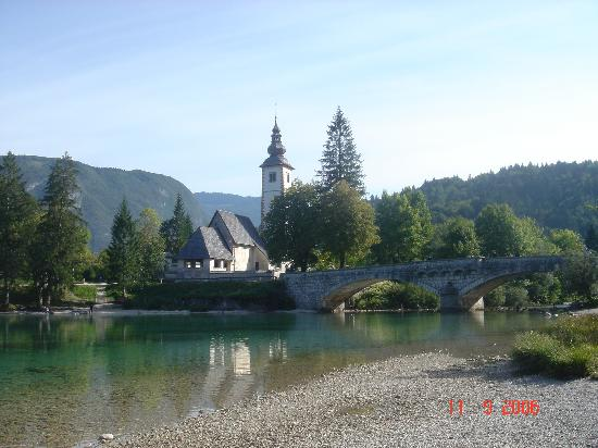 Bridge and church on Lake Bohinj