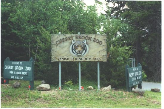 Cherry Brook Zoo Inc.: The front entrance sign