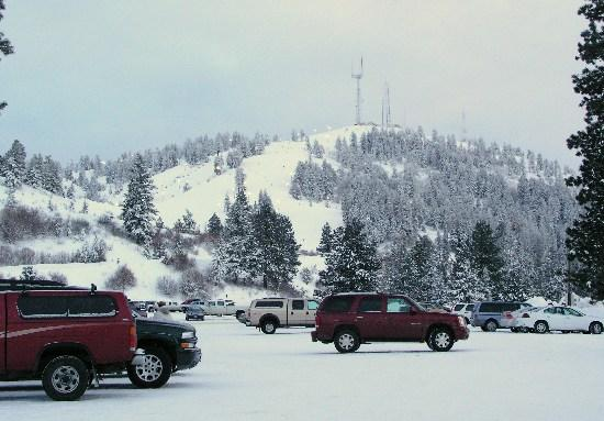 Bogus Basin Mountain Recreation Area: View of Alpine slopes from near Nordic Center